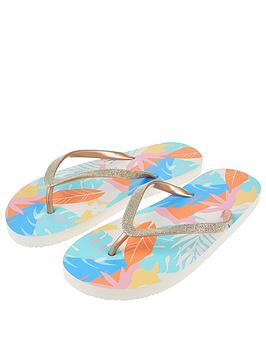 Accessorize   Palm Clash Print Eva Flip Flops - Multi
