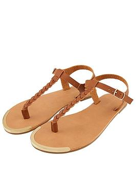 Accessorize   Plaited Thong Sandal - Tan