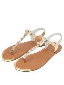 Accessorize   Plaited Thong Sandals - Gold