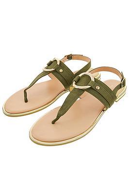 Accessorize Ring Detail Sandals - Khaki