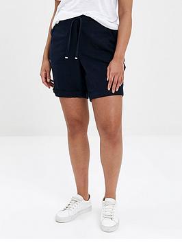 Evans Evans Linen Blend Shorts - Navy Picture