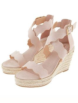 Monsoon Monsoon Sophie Scallop Edge Wedges - Nude Picture