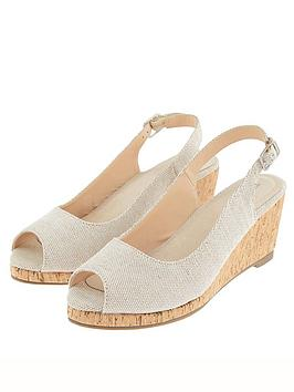 Monsoon Monsoon Courtney Cork Sling Back Glitter Wedge - Gold Picture