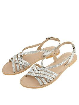 Monsoon Monsoon Primrose Plait Leather Strappy Sandal - Silver Picture