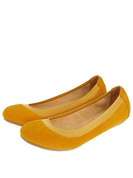 Accessorize  Elasticated Suede Ballerina Shoes - Yellow