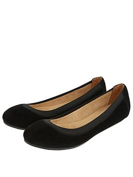 Accessorize   Elasticated Suede Ballerina Shoes - Black