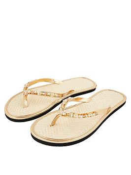 Accessorize  Beaded Seagrass Flip-Flops - Gold