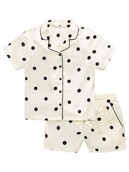 V by Very V By Very Girls Polka Dot Short Satin Pyjamas - White Picture