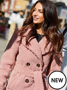 michelle-keegan-tie-waist-teddy-coat-pink