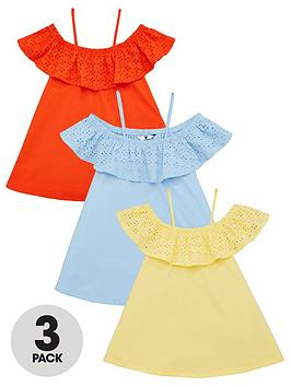 V by Very V By Very Girls 3 Pack Strappy Broderie Detail Tops - Multi Picture