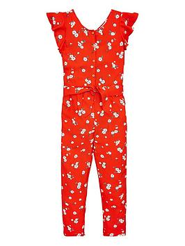 V by Very V By Very Girls Floral Ruffle Sleeve Jumpsuit - Multi Picture