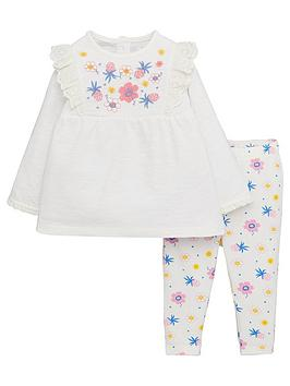 V by Very V By Very Baby Girls Floral Embroidered Top And Printed Legging  ... Picture
