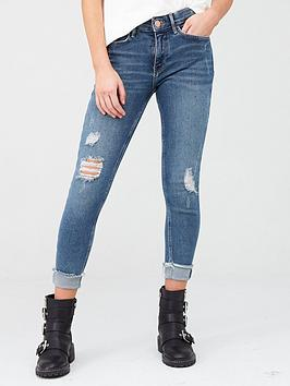 River Island River Island Ripped Knee Mid Rise Amelie Super Skinny Jean -  ... Picture