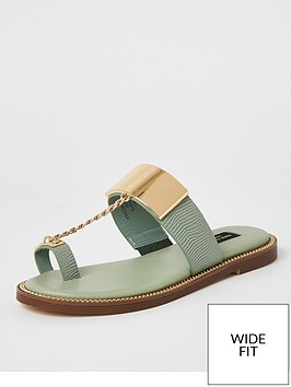 river-island-wide-fit-toe-loop-chain-sandalnbsp-nbspsage