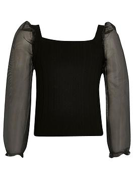 River Island River Island Girls Organza Sleeve Knitted Top-Black Picture