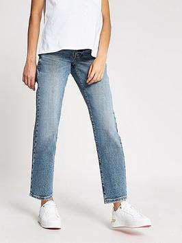 River Island River Island Maternity Over Bump Straight Leg Jeans - Mid  ... Picture