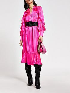 river-island-river-island-ruffle-shirt-midi-dress-pink