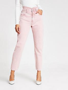 River Island  Washed Peg Leg Jeans - Pink