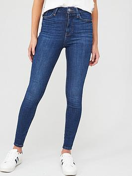 River Island River Island High Rise Hailey Super Skinny Jean - Dark Blue Picture