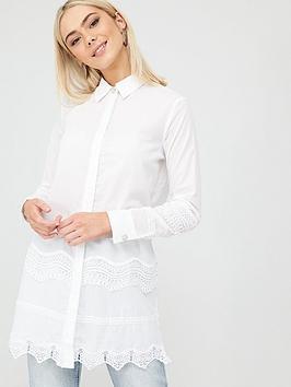 River Island River Island Cutwork Detail Cotton Shirt - White Picture