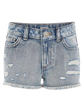 River Island River Island Girls Ripped Boyfriend Denim Shorts - Blue Picture