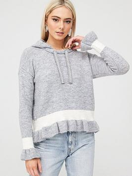 River Island River Island Frill Crop Knitted Hoodie - Grey Picture