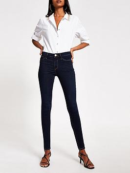 River Island River Island Mid Rise Molly Jeggings - Dark Blue Picture