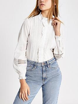 River Island River Island Broderie Long Sleeve Shirt Picture