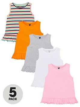 V by Very V By Very Girls 5 Pack Ruffle Hem Vests Picture