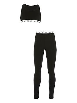 River Island  Girls Crop Top &Amp; Legging Set - Black