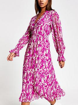 River Island River Island Printed Smock Midi Dress - Pink Picture