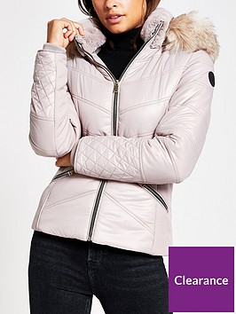 river-island-faux-fur-fitted-padded-jacket-light-pink