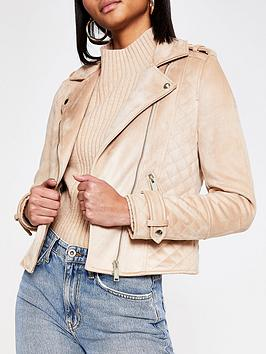 River Island River Island Suedette Biker Jacket - Brown Picture