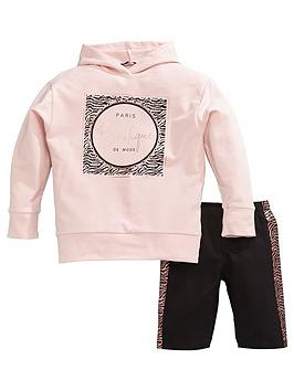 V by Very V By Very Girls Longline Hoody &Amp; Cycling Shorts - Pink Picture