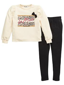 V by Very V By Very Girls La Mode Sweat Top And Legging Set - Multi Picture