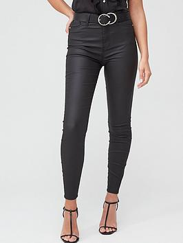 River Island River Island High Rise Hailey Coated Skinny Jean - Black Picture