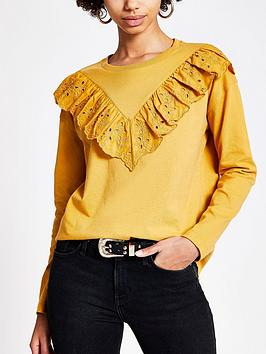 River Island River Island Broderie Chevron Jersey Top - Mustard Picture