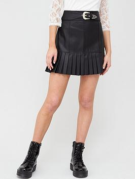 River Island River Island Pu Western Belt Pleated Mini Skirt - Black Picture