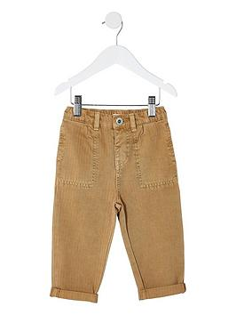 River Island Mini River Island Mini Boys Herringbone Trousers - Brown Picture