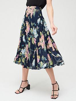 Oasis  Floral Print Pleated Midi Skirt - Multi