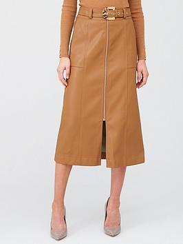 river-island-zip-through-belted-midi-skirt-tan