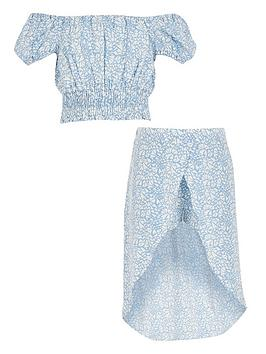 River Island River Island Girls Heart Printed Crop And Skirt Outfit-Blue Picture
