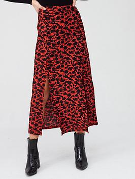 River Island River Island Printed Tiered Jersey Midaxi Skirt - Red Picture