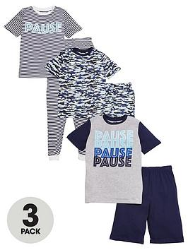 V by Very V By Very Boys 3 Pack Pause Pyjamas - Multi Picture
