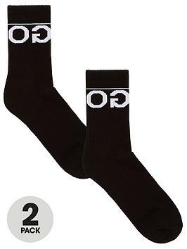 hugo-2-pack-rib-logo-socks-black
