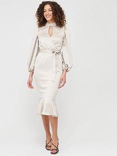v-by-very-wrap-blouson-sleeve-satin-midi-dress