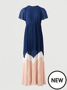 v-by-very-angel-sleeve-colour-block-maxi-dress-navy