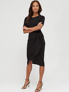 v-by-very-short-sleeve-buckle-side-midi-dress-black
