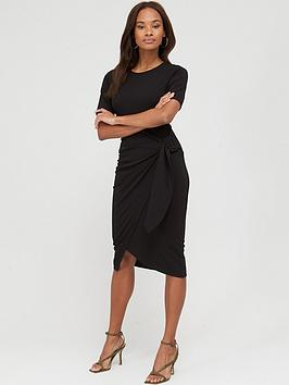 V by Very V By Very Short Sleeve Buckle Side Midi Dress - Black Picture