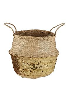 premier-housewares-seagrass-basket-with-gold-sequin-base